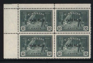 Canada #O9 XF/NH Corner Block **With Certificate**