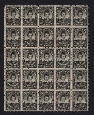 New Brunswick #11 VF/NH Block Of 25