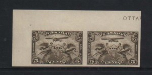 Canada #C1a NH Mint Superb Imperf Pair