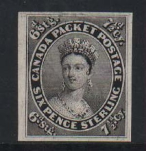 Canada #9TC XF Plate Proof In Black On India Paper
