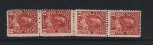 Canada #106x VF/NH Experimental Coil Strip Of Four