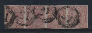 Canada #8a XF Used Strip Of Four  **With Certificate**
