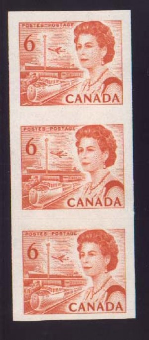 Canada #468ac XF/NH Imperforate Strip Of Three **With Cert.**
