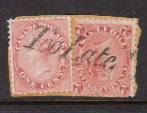 Canada #14 & #20 Used On Piece With Ideal Too Late Cancel