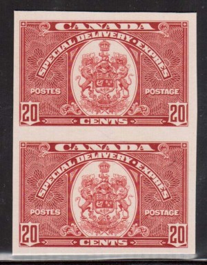 Canada #E8P XF Mint Imperf Proof Pair On Card