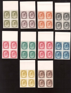 Canada #74P - #84P XF Proof Gem Block Set India Paper On Card