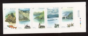 Canada #1489ai XF/NH Imperforate Booklet Setenant Strip Of Five