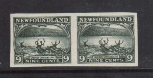 Newfoundland #138a XF Mint Imperforate Pair  **With Certificate**