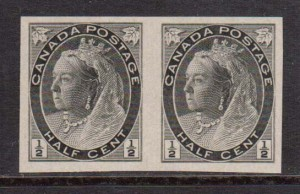 Canada #74v XF Mint Imperf Pair **With Certificate**