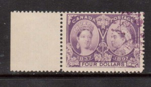 Canada #64 VF Used Sheet Margin Copy With Purple Magenta Cancel *Cert.*