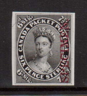 Canada #9TCi VF Mint Proof In Black On India Paper