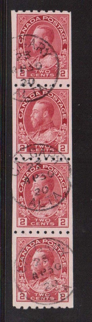 Canada #124 XF Used CDS Strip Of Four