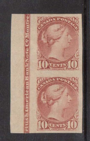 Canada #45i XF Mint Imprint Pair On Imperf Pair  **With Certificate**
