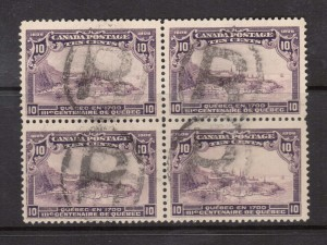 Canada #101 VF Used Block With Four Registered Cancels