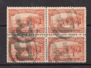 Canada #102 VF Used Block With Four Registered Cancels
