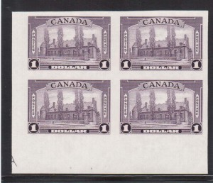 Canada #245b XF/NH LL Imperf Margin Block With Guide Arrow - Unique
