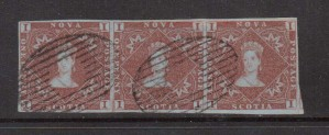 Nova Scotia #1 XF Used Showpiece Strip Of Three **With Cert.**