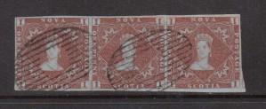 Nova Scotia #1 XF Used Showpiece Strip Of Three **With Cert.**