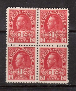Canada #MR3a VF/NH Block **With Certificate**