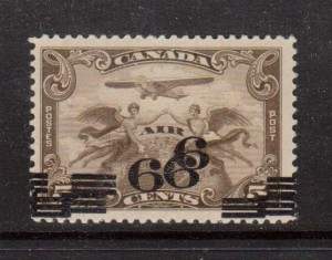 Canada #C3c VF Mint Triple Surcharge Error & Double Offset **With Cert.**
