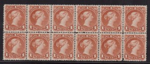 Canada #22b VF-XF Mint Block Of Twelve