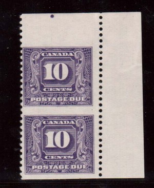 Canada #J10a VF/NH Imperforate Between Pair