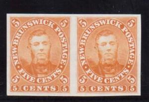 New Brunswick #5TC XF Proof Pair In Orange On India Paper