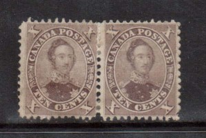 Canada #17v Mint Rare Pair **With Certificate**