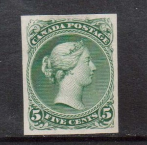 Canada #26TC XF Trial Color Plate Proof In Deep Green **With Cert.**