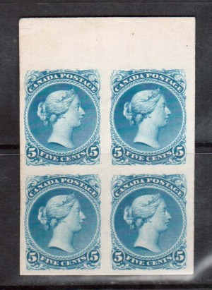 Canada #26TC XF Trial Color Top Margin Plate Proof Block In Azure Blue