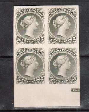 Canada #26P XF Proof Block In Color Of Issue Showing Part Imprint