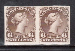 Canada #27P VF Plate Proof Pair On Card As Issued **With Cert.**