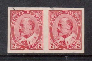 Canada #90iii XF Mint Imperf Type 1 Pair **With Certificate**