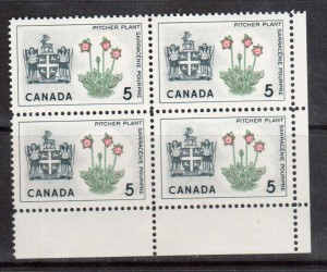 Canada #427ii XF/NH Block With Red Double Printed **With Certificate**
