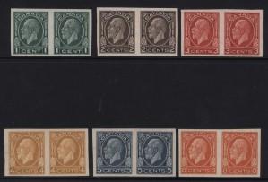 Canada #195a - #200a XF/NH Imperf Pair Set