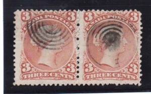 Canada #33 Used Pair **With Certificate**