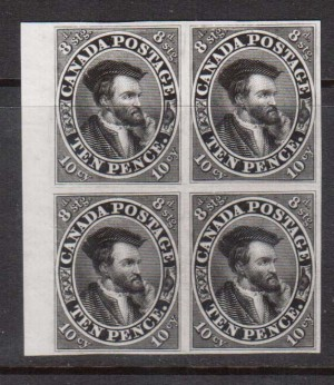 Canada #7TC XF Proof Block In Black On India Paper