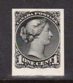 Canada #35P XF Trial Color Plate Proof In Black India Paper On Card