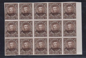 New Brunswick #5P XF Proof Block Of 15 On India Paper
