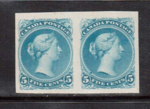 Canada #26TC XF Trial Color Plate Proof Pair In Azure Blue **With Cert.**