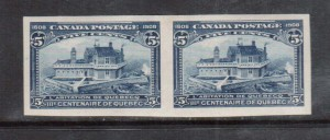 Canada #99a XF Mint Imperforate Pair **With Certificate**
