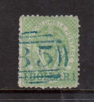British Columbia #18 VF Used With Ideal Grid 35 Cancel **With Certificate**