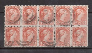Canada #37iii VF Used Block Of Ten With 2 Ring 3 Cancels **With Cert.**