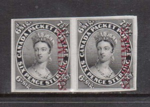Canada #9TCi XF Proof Pair On India Paper With Vertical Specimen Overprint.