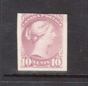 Canada #40P Rare Plate Proof Lilac On Card