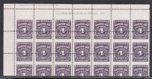 Canada #J17 VF/NH Dramatic Misperforated Plate Block Of 21