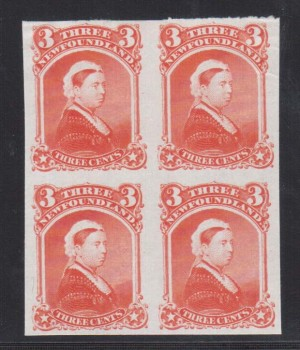 Newfoundland #33P XF Proof Block On India Paper