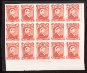 Newfoundland #33P XF LR Margin Proof Block Of 15 Showing Imprints
