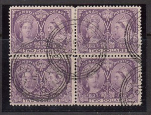Canada #62 Used Block With Toronto Oct 6 00 Date Stamps