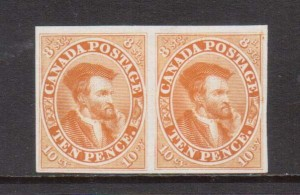 Canada #7TCiii XF Plate Proof Pair In Orange Yellow On India Paper